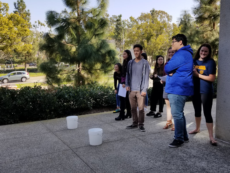 Students doing an activity with buckets